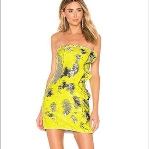 NWT H:ours Nala Yellow Silver Sequin Mini Dress